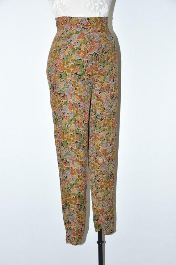 90s leaf print rayon pants / 1990s high waist tro… - image 4