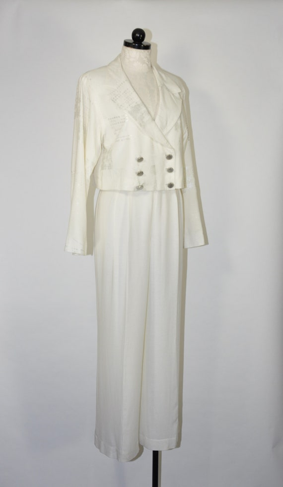90s white linen pant suit / 1990s two piece boxy … - image 3