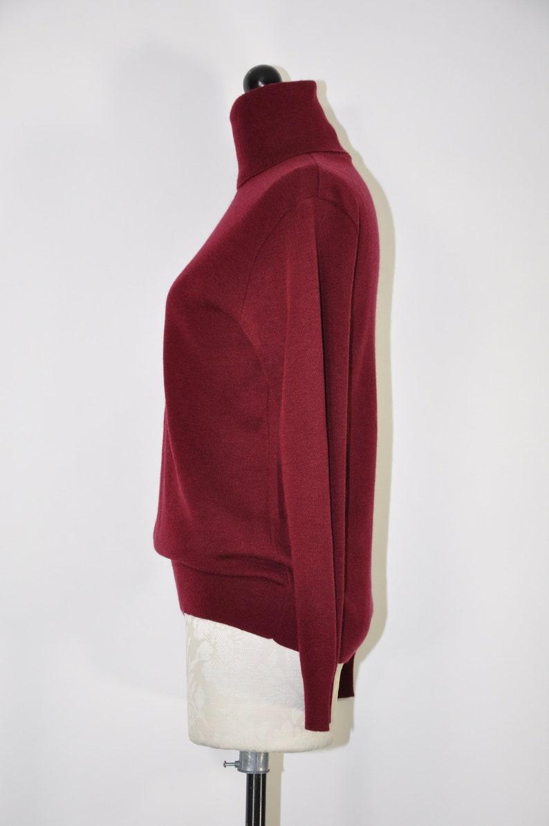 60s garnet acrylic turtleneck  1960s burgundy knit top  lightweight layering pullover