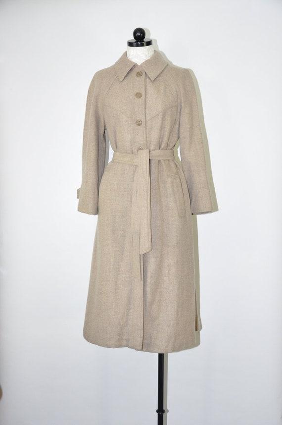70s wool tweed trench coat / 1970s oatmeal princes
