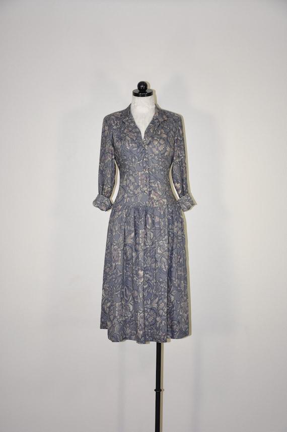80s pewter gray dress / floral full skirt shirtdre