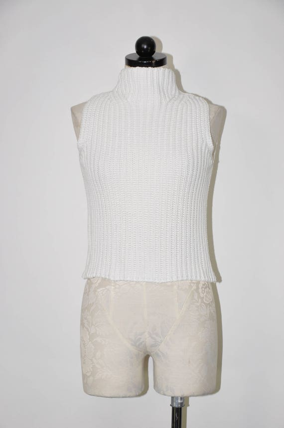 90s ribbed knit crop top / snow white cotton turt… - image 4