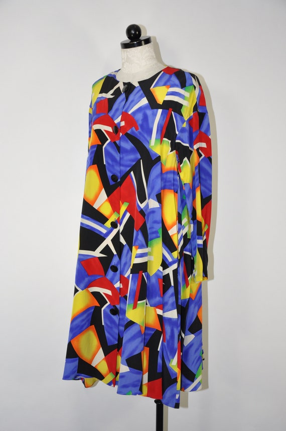 90s colorful silk dress / 1990s silk tent dress /… - image 7