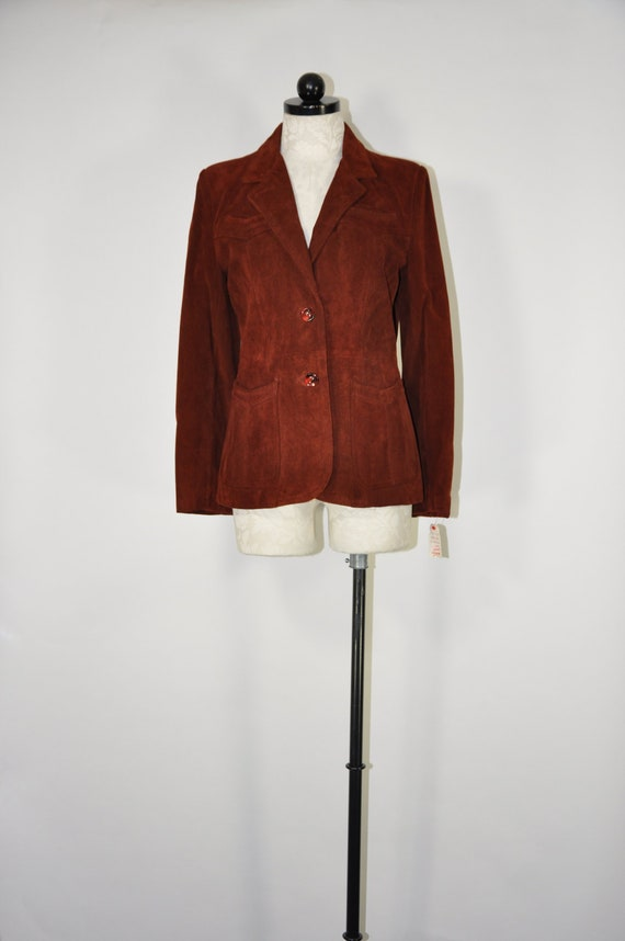 70s spice brown suede jacket / 1970s rust short le