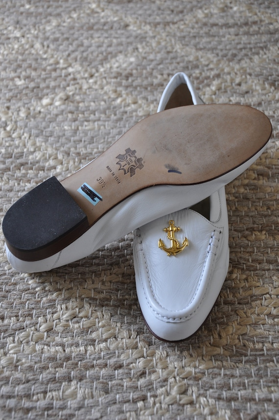 80s nautical white loafers / Italian leather mocc… - image 9