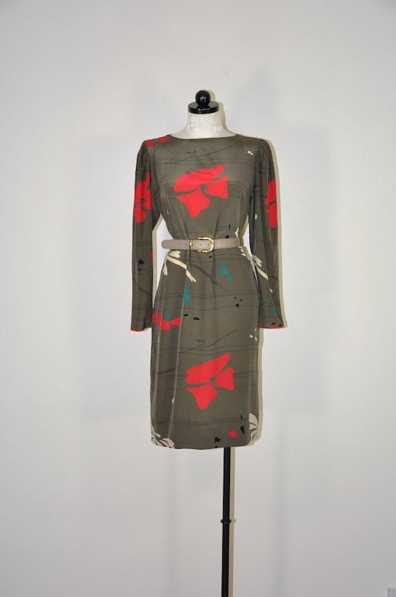 80s gray silk shift dress / vintage poppy print dr
