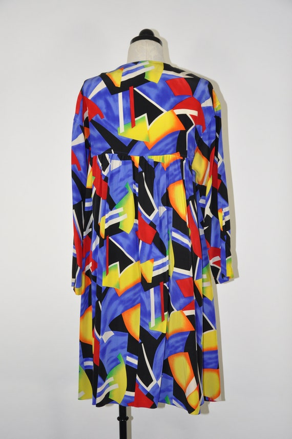 90s colorful silk dress / 1990s silk tent dress /… - image 5