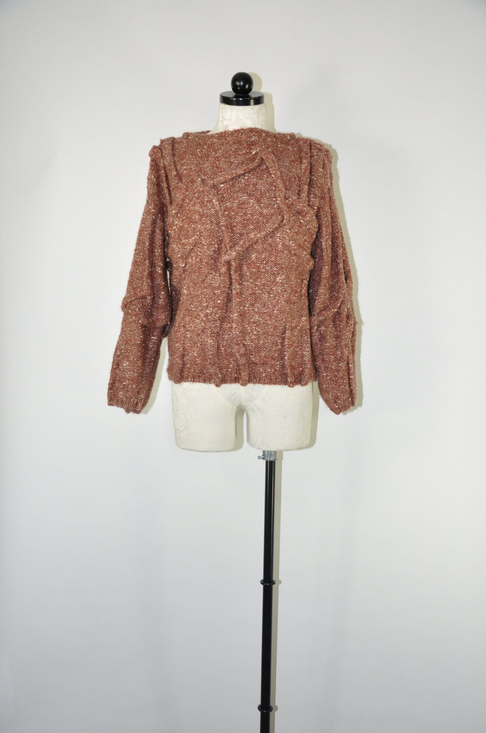 80s Sweatshirts, Sweaters, Vests | Women 80S Spice Brown Sweater1980S Chunky Knit Pullover Avany Garde Oversize $78.00 AT vintagedancer.com