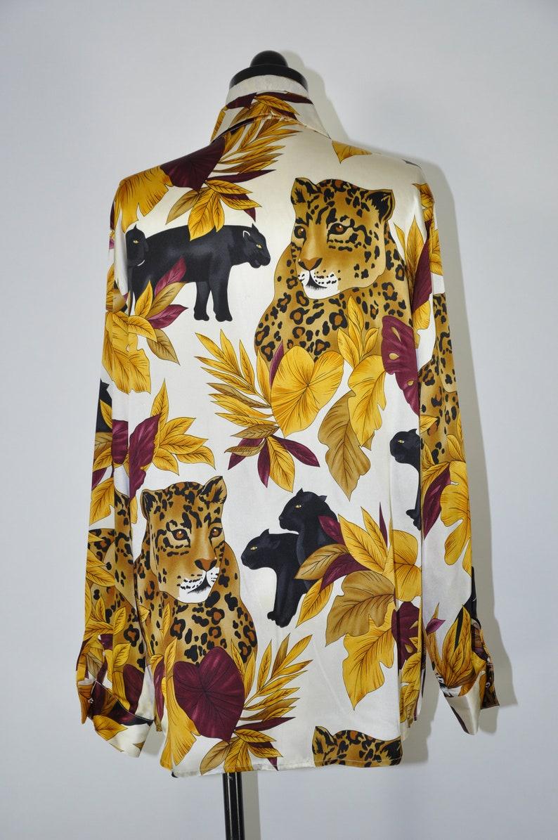 90s silk charmeuse blouse  1990s animal print shirt  gold leaf print baroque top
