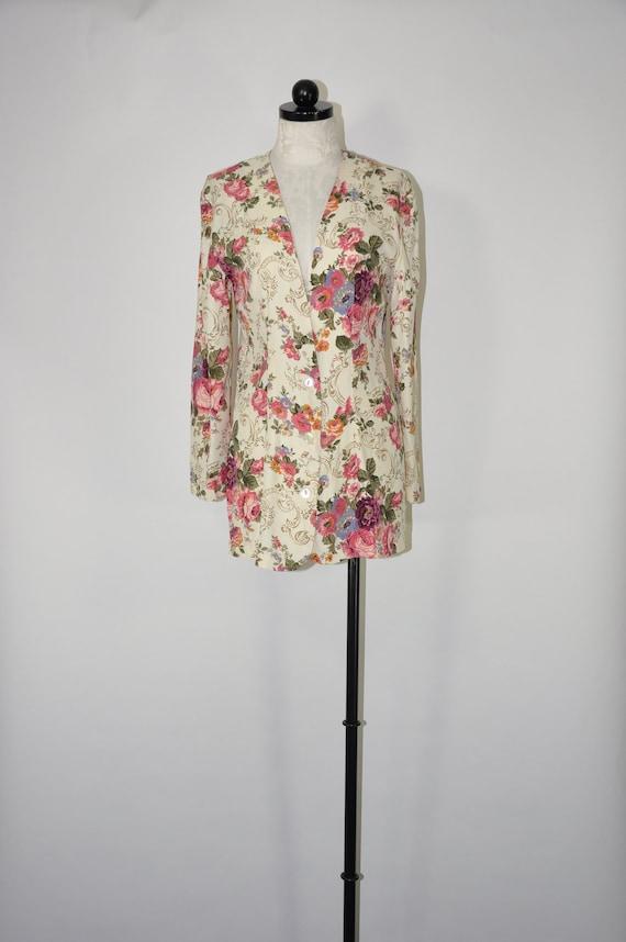 80s baroque floral blazer / 1980s rose print jacke