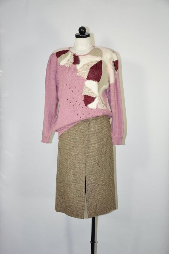 70s long pencil skirt / wool tweed midi skirt / 19