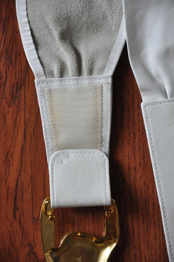 80s white statement belt / 1980s cummerbund / gol… - image 4