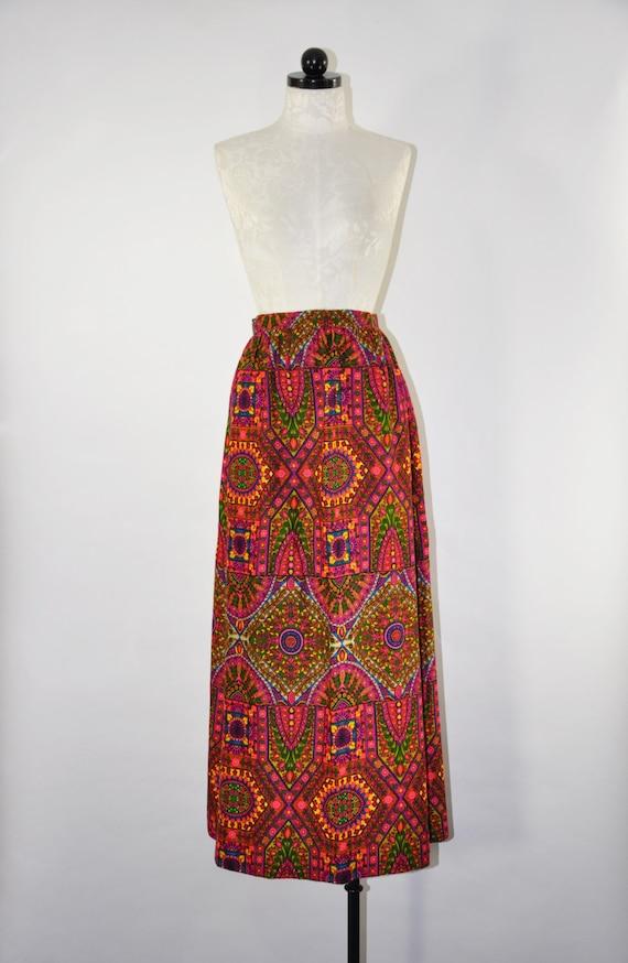 70s mosaic print maxi skirt / 1970s colorful long
