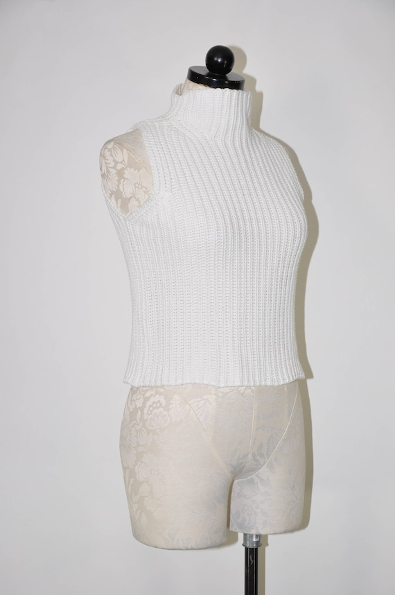 90s ribbed knit crop top / snow white cotton turt… - image 6