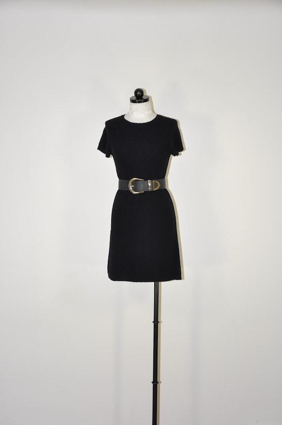 90s DKNY black knit dress / knitted wool mini dres