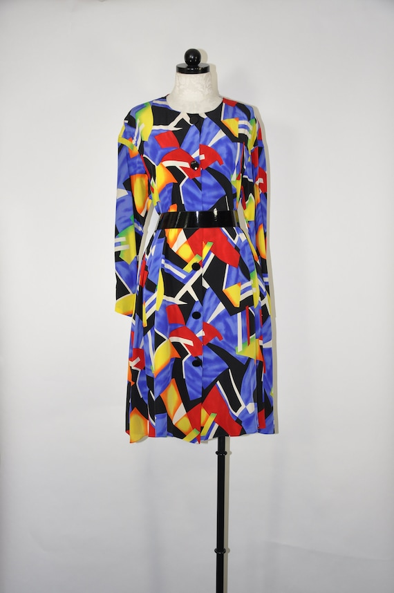 90s colorful silk dress / 1990s silk tent dress /… - image 1