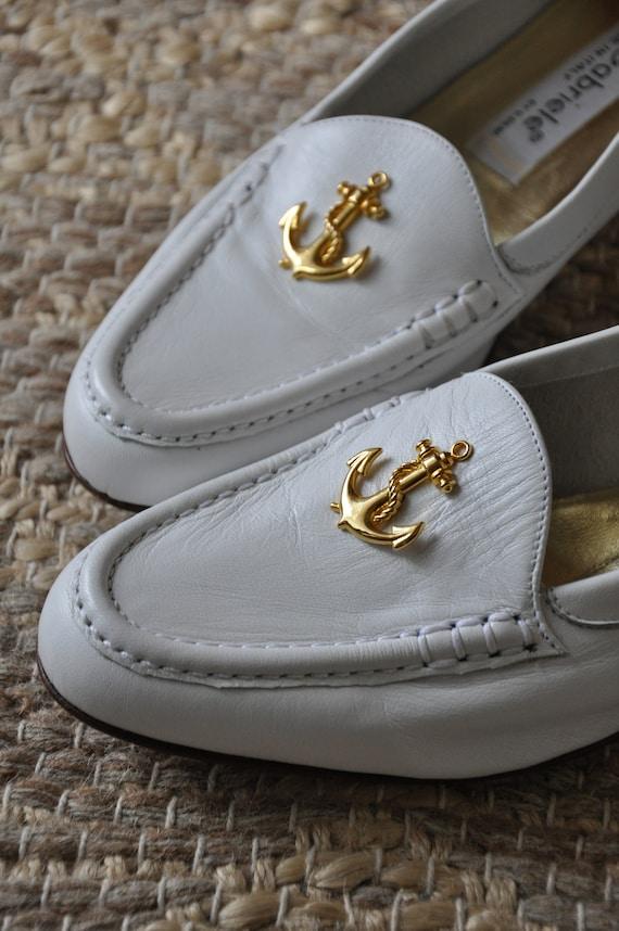 80s nautical white loafers / Italian leather mocc… - image 6