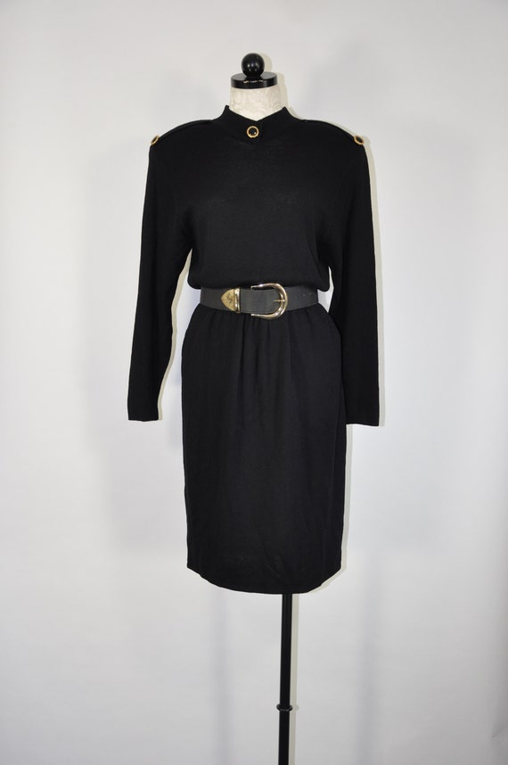 80s knit wool dress / black military dress / St Jo