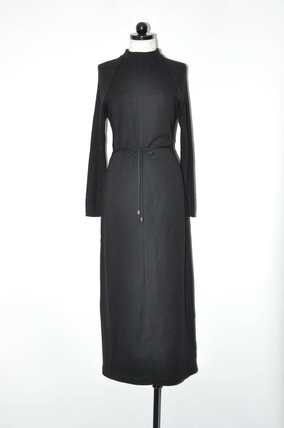 90s black wool minimalist gown / 1990s knit jersey