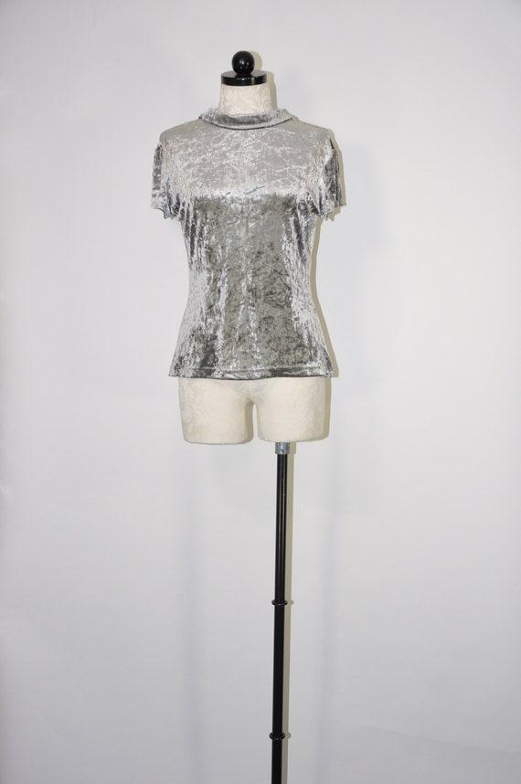 90s crushed velvet top / 1990s gray minimalist blo