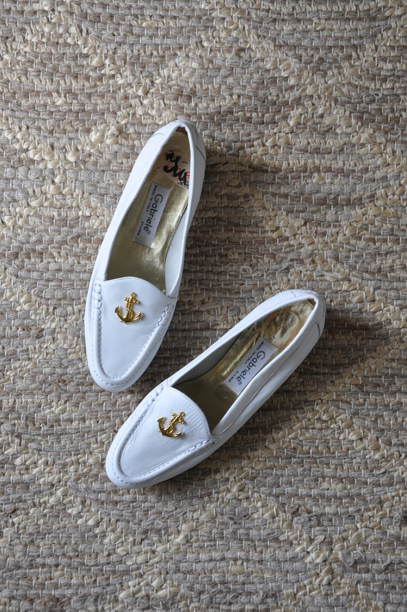 80s nautical white loafers / Italian leather mocca