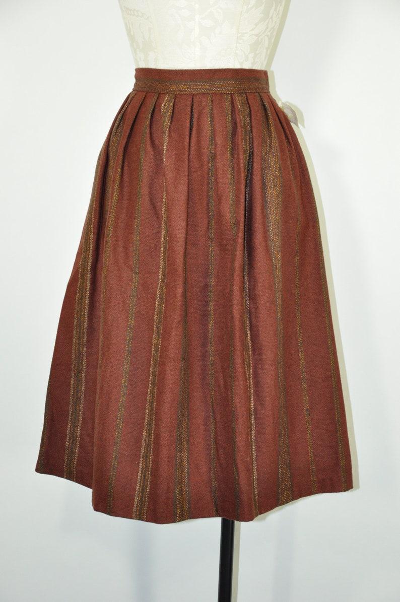80s cinnamon wool skirt  1980s striped full skirt  high waist pleated skirt