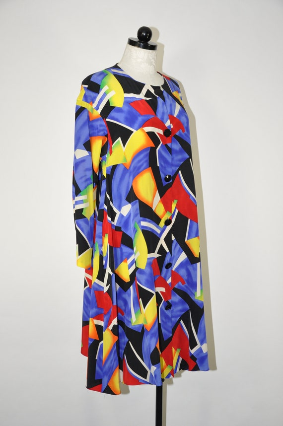 90s colorful silk dress / 1990s silk tent dress /… - image 3