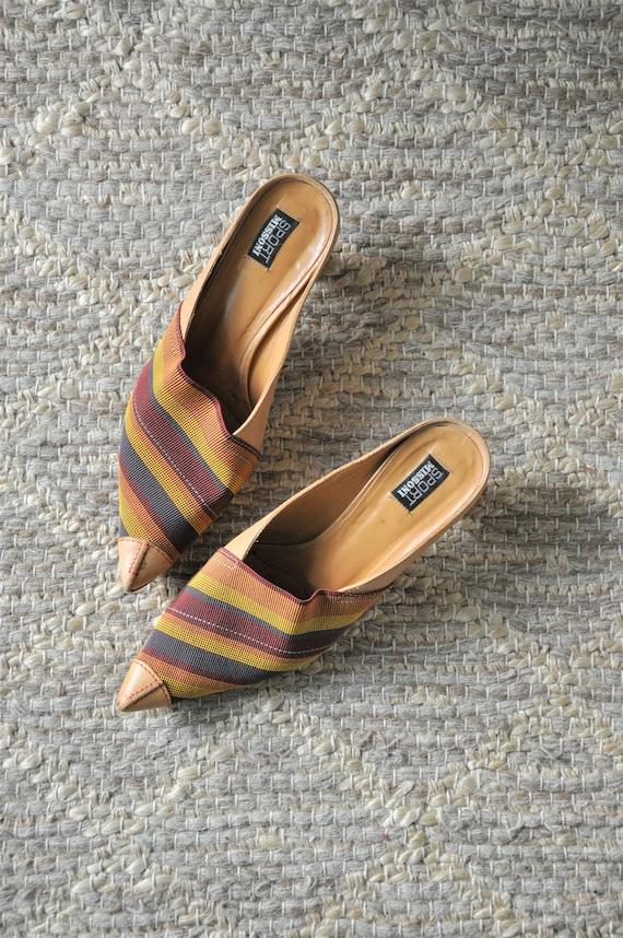 Y2K Sport Missoni mules / autumn colors striped pu