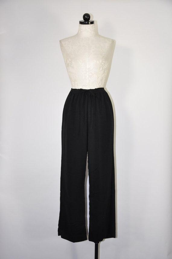 90s black rayon pants / 1990s wide leg trousers /