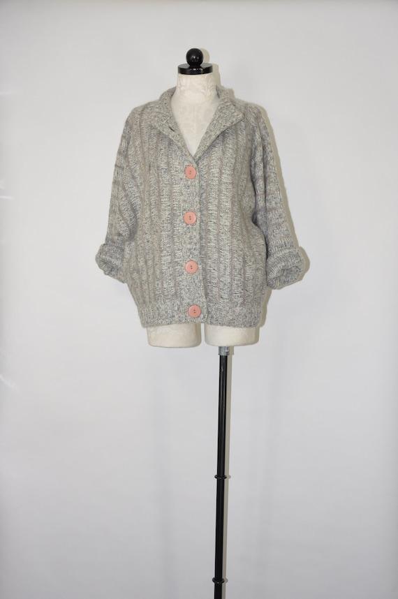 80s gray mohair cardigan / 1980s fuzzy knit short