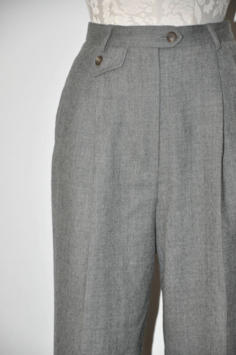 90s heather gray trousers  1980s pewter tapered pants  vintage pleated wool pants
