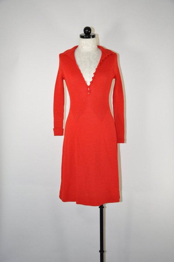 70s red knit dress / 1970s turtleneck dress / vint