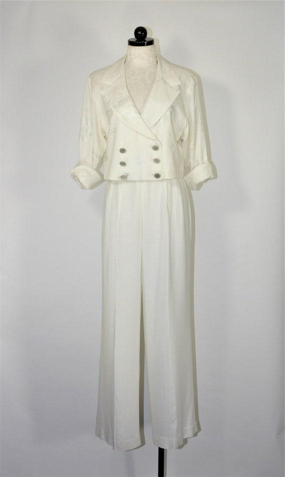 90s white linen pant suit / 1990s two piece boxy p