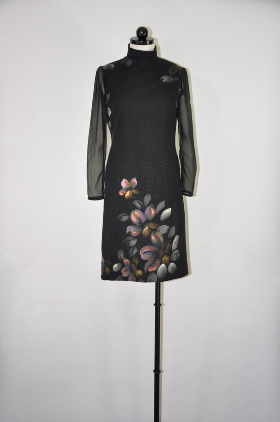 60s black cocktail dress / hand painted floral lbd