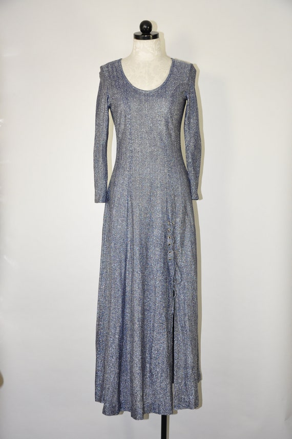 70s blue metallic long dress / 1970s sparkle leg s