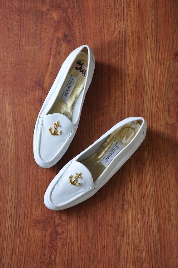80s nautical white loafers / Italian leather mocc… - image 10
