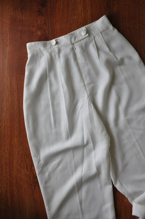 90s white linen pant suit / 1990s two piece boxy … - image 10