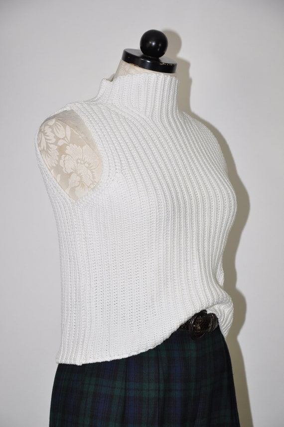 90s ribbed knit crop top / snow white cotton turt… - image 3
