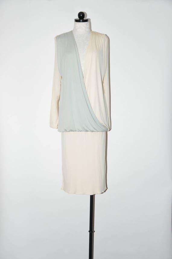 80s draped grecian dress / 1980s long sleeve dress