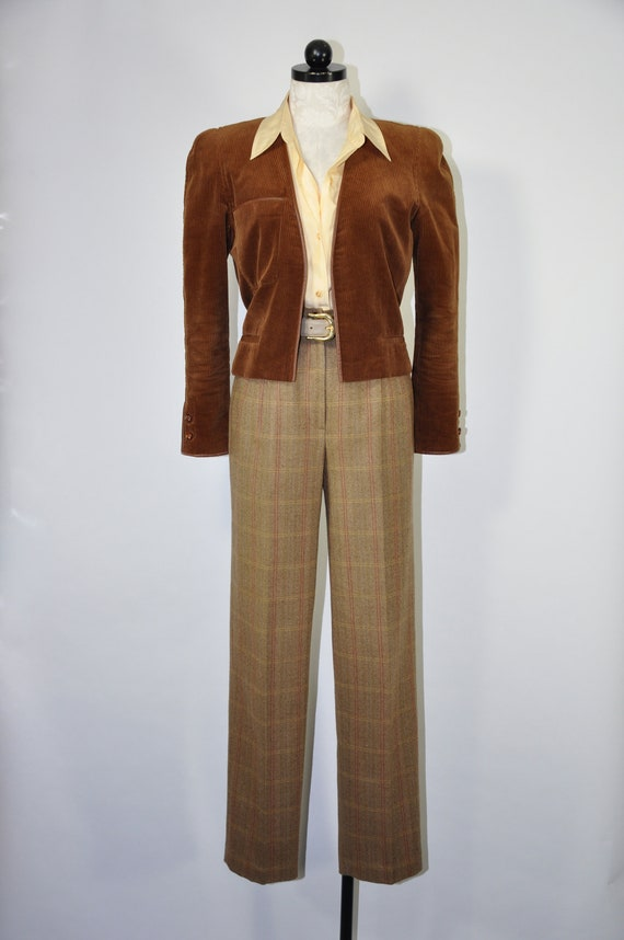 70s brown corduroy jacket / Claude Montana cropped
