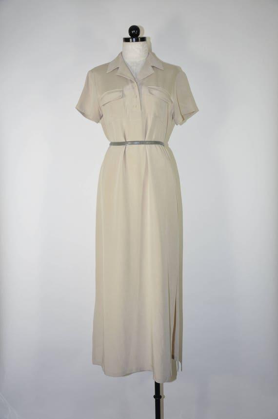 1990s gray silk maxi dress / monochrome long dress