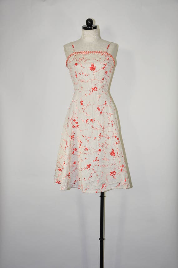 50s white strappy dress / 1950s red floral dress /