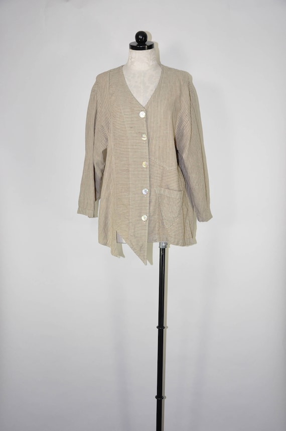 90s striped natural linen jacket / asymmetrical li
