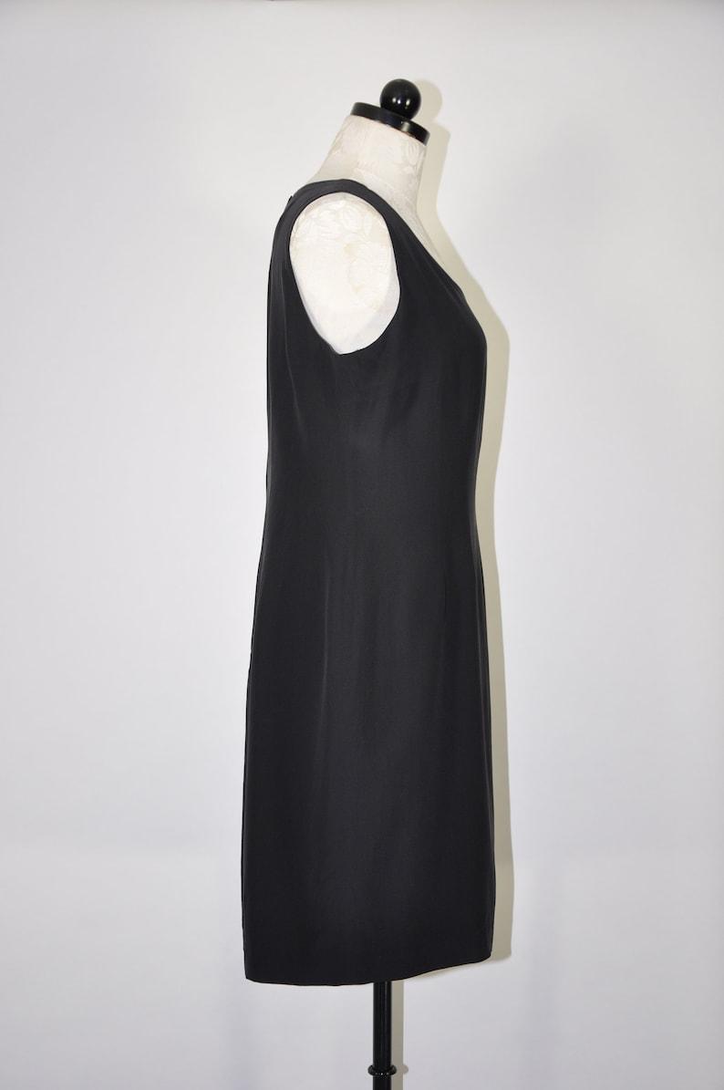 90s black silk tank dress  black silk sheath dress  minimalist short dress