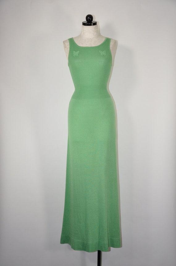 70s grass green dress / 1970s knit maxi dress / sl