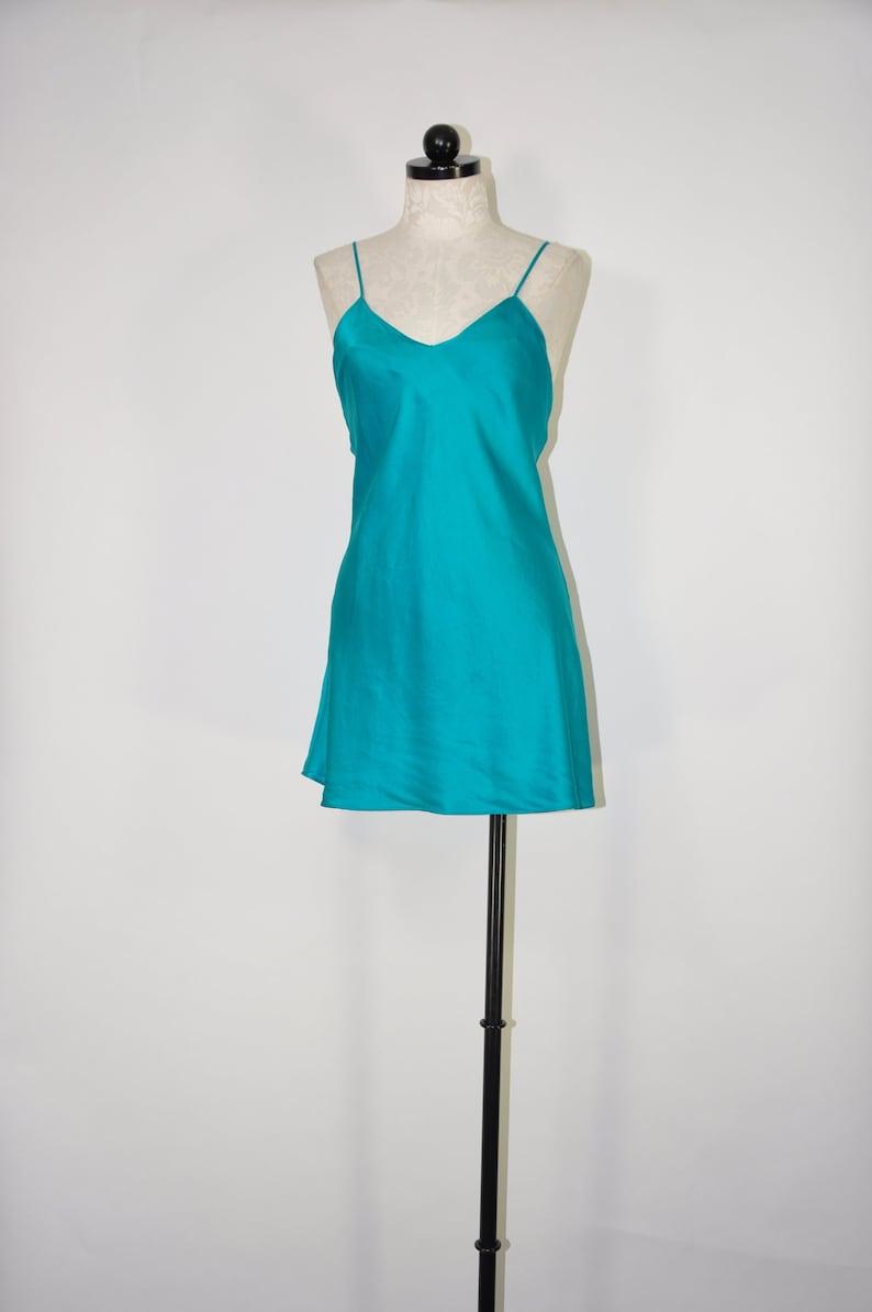 4bd55dd48bba 90s emerald negligee / 1990s jewel green slip / bias cut silk   Etsy