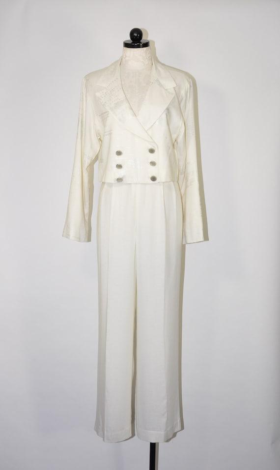 90s white linen pant suit / 1990s two piece boxy … - image 2