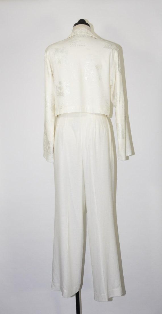 90s white linen pant suit / 1990s two piece boxy … - image 5