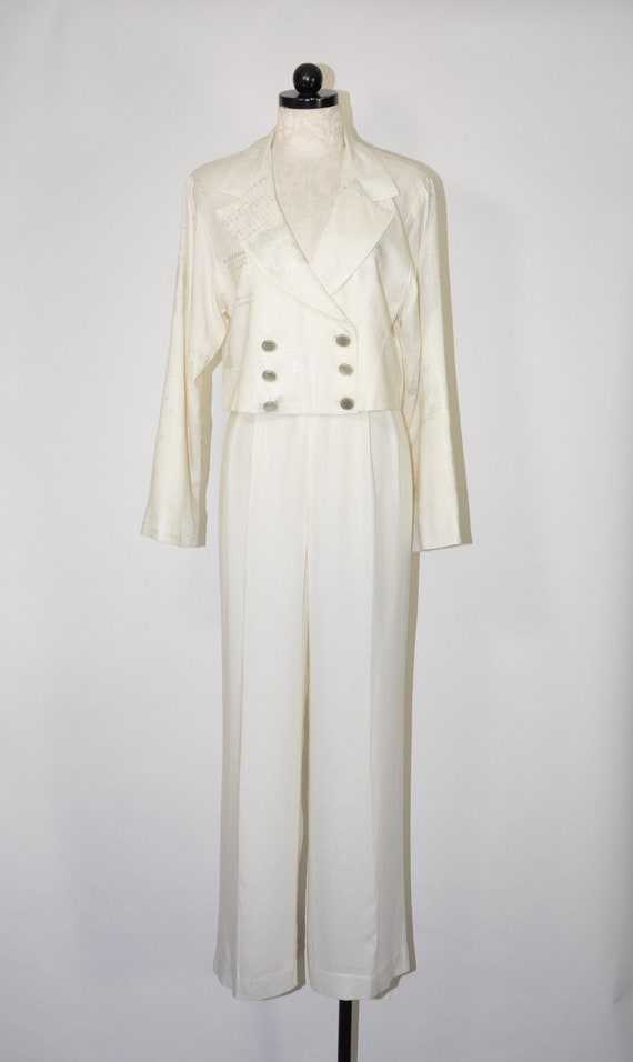 90s white linen pant suit / 1990s two piece power