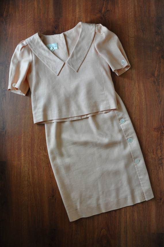 80s peach linen two piece dress / 1980s puff sleev